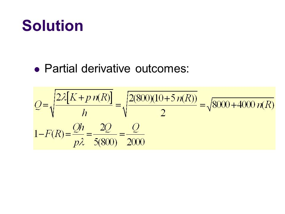 Solution Partial derivative outcomes: