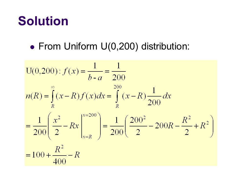 Solution From Uniform U(0,200) distribution: