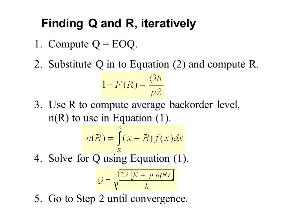 Finding Q and R, iteratively