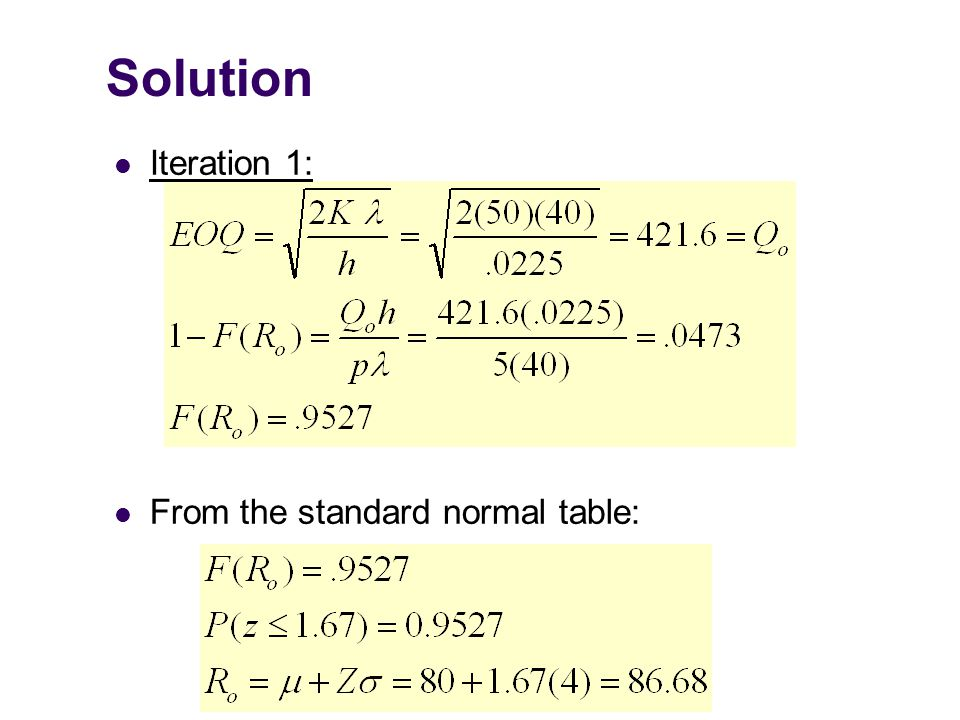 Solution Iteration 1: From the standard normal table: