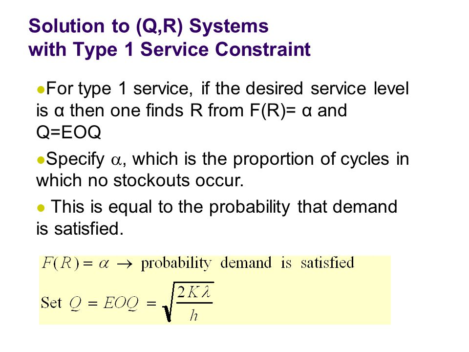 Solution to (Q,R) Systems with Type 1 Service Constraint