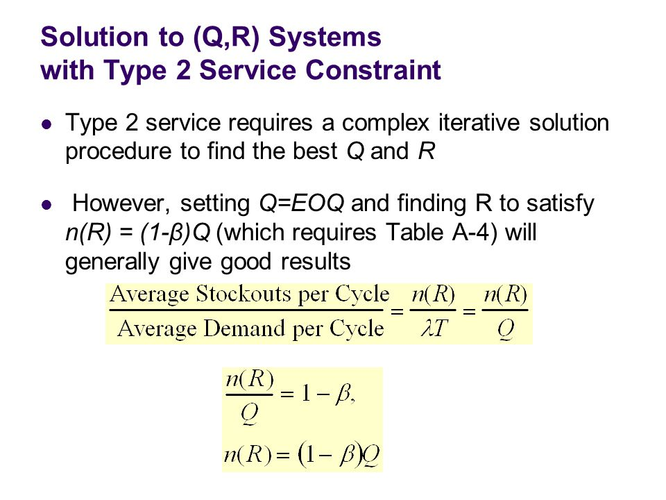 Solution to (Q,R) Systems with Type 2 Service Constraint