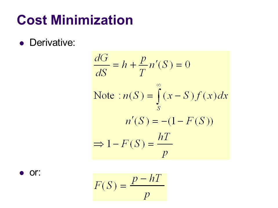 Cost Minimization Derivative: or: