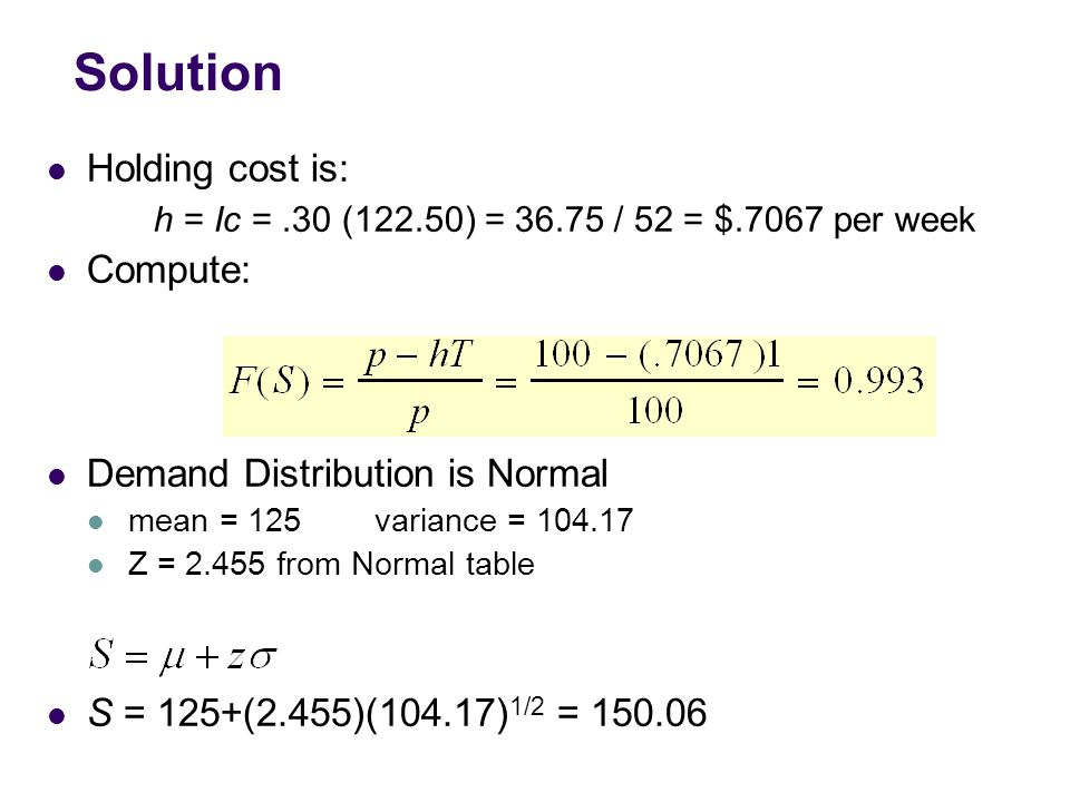 Solution Holding cost is: