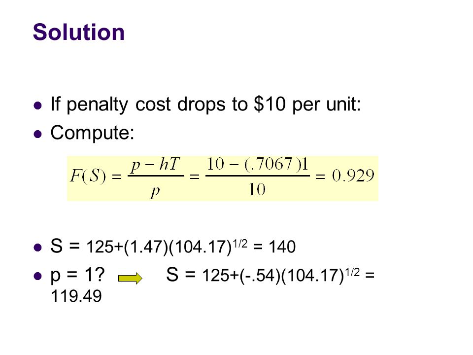Solution If penalty cost drops to $10 per unit: Compute: