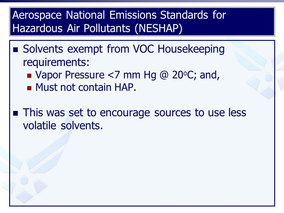 Solvents exempt from VOC Housekeeping requirements: