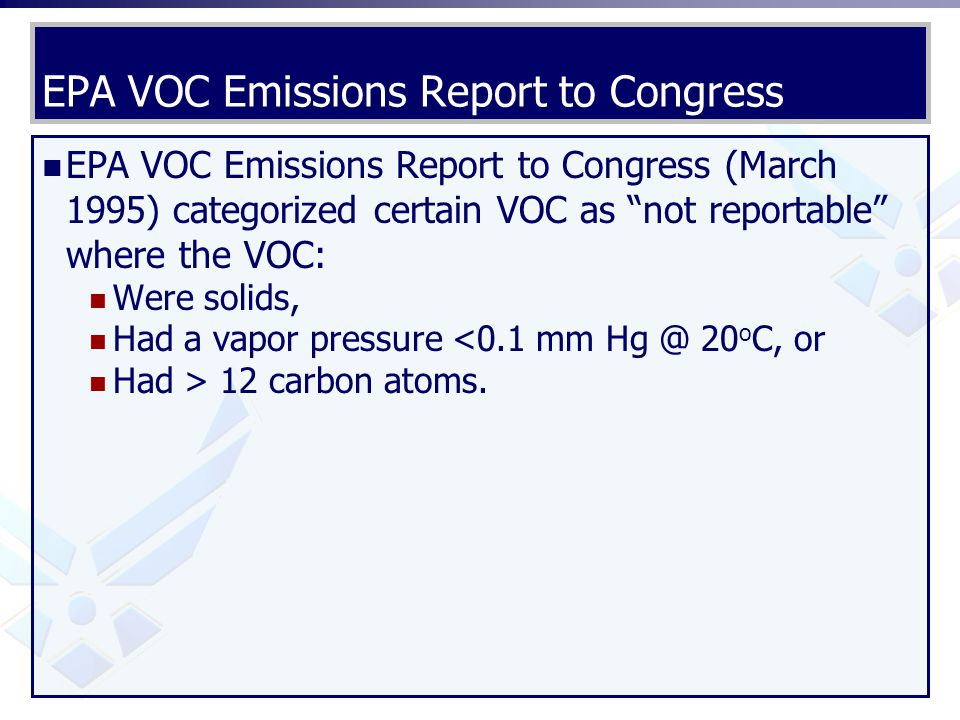 EPA VOC Emissions Report to Congress