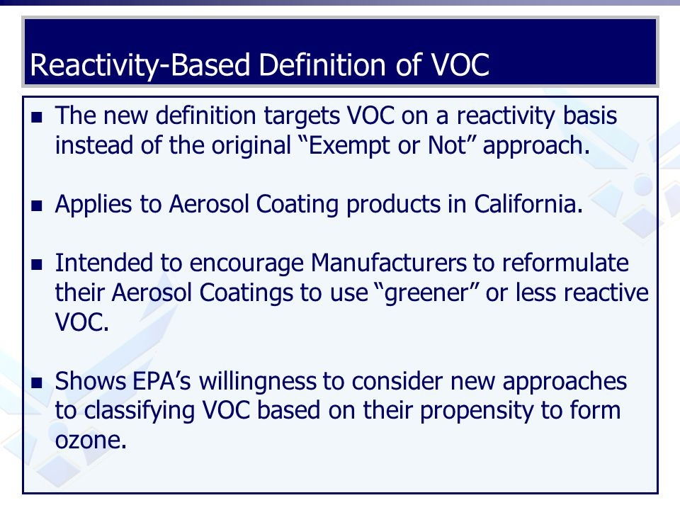 Reactivity-Based Definition of VOC