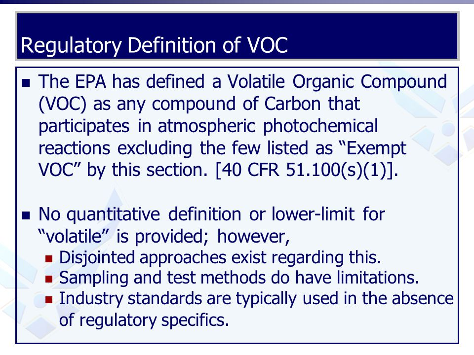 Regulatory Definition of VOC