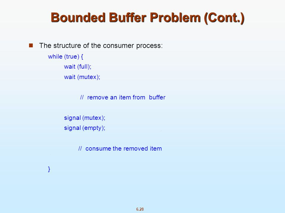 Bounded Buffer Problem (Cont.)