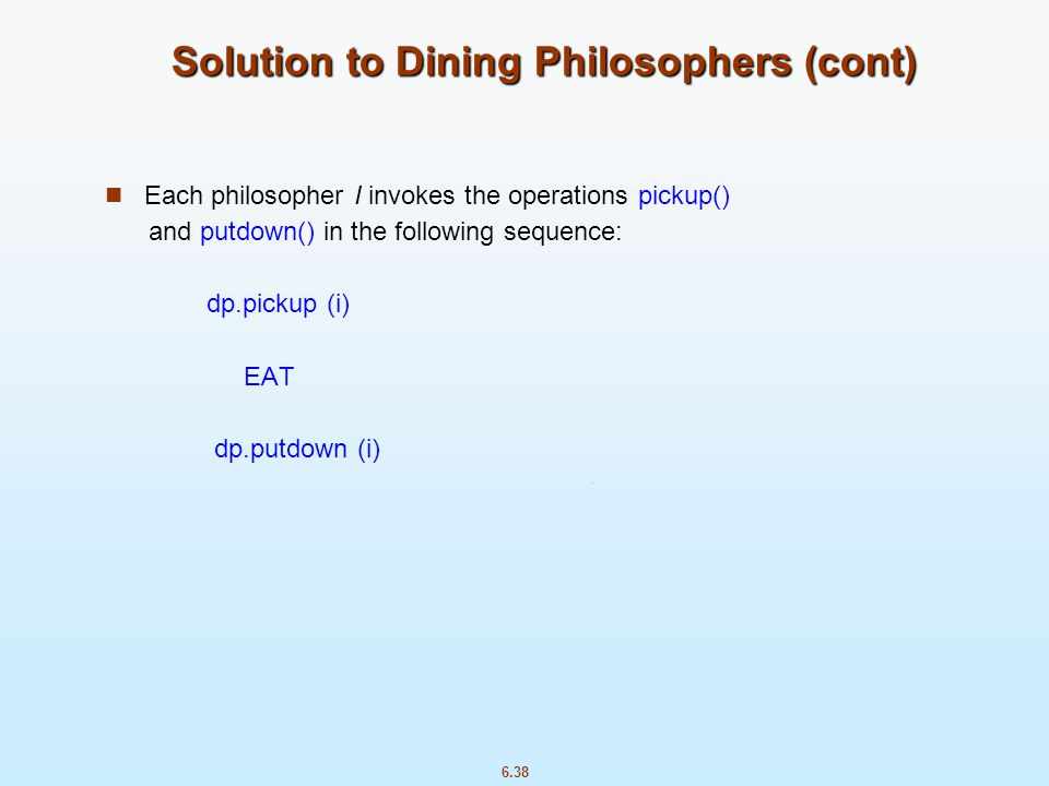 Solution to Dining Philosophers (cont)