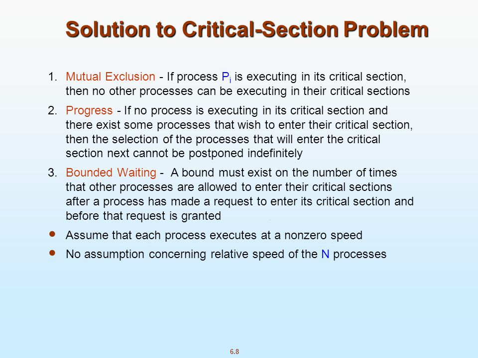 Solution to Critical-Section Problem