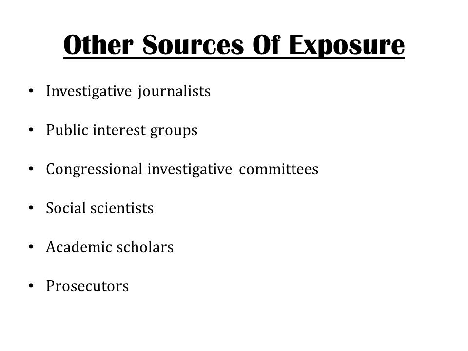 Other Sources Of Exposure