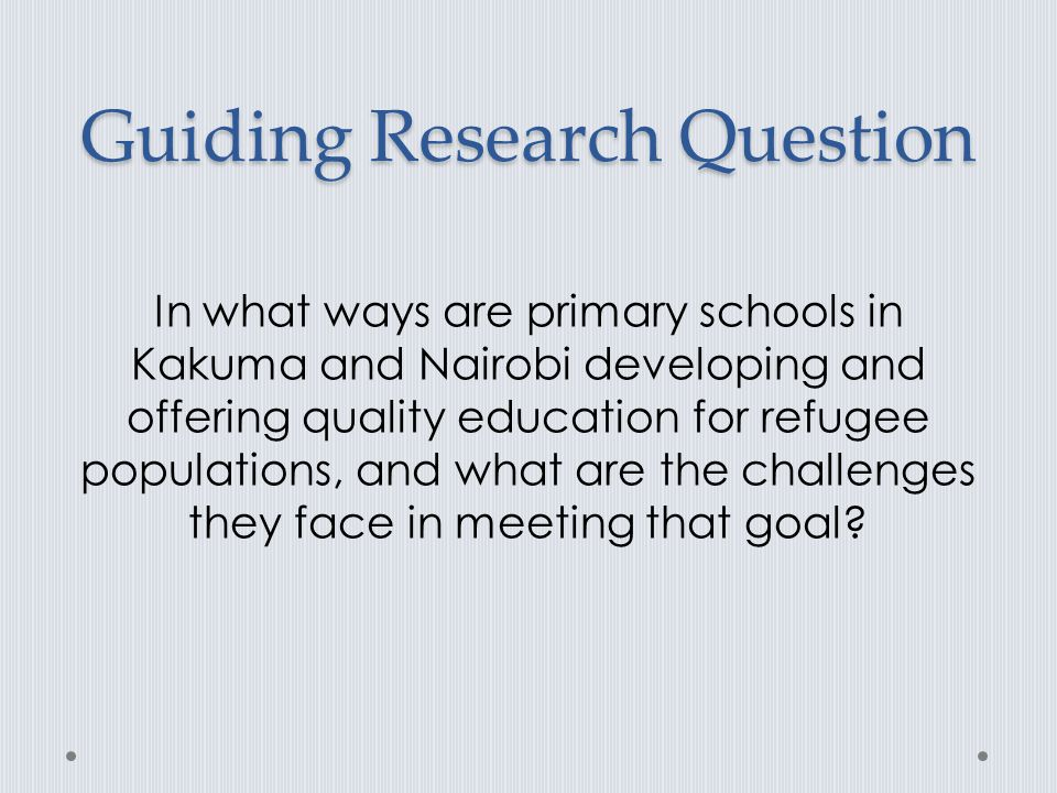Guiding Research Question
