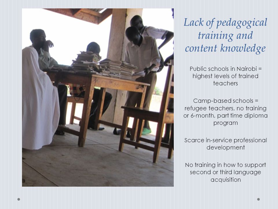 Lack of pedagogical training and content knowledge