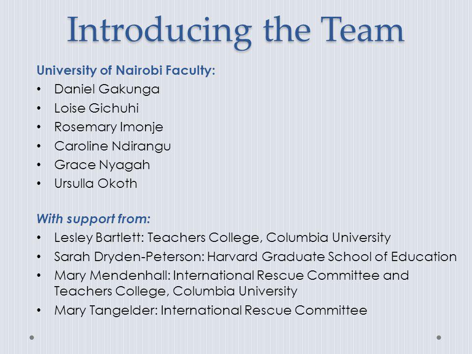 Introducing the Team University of Nairobi Faculty: Daniel Gakunga