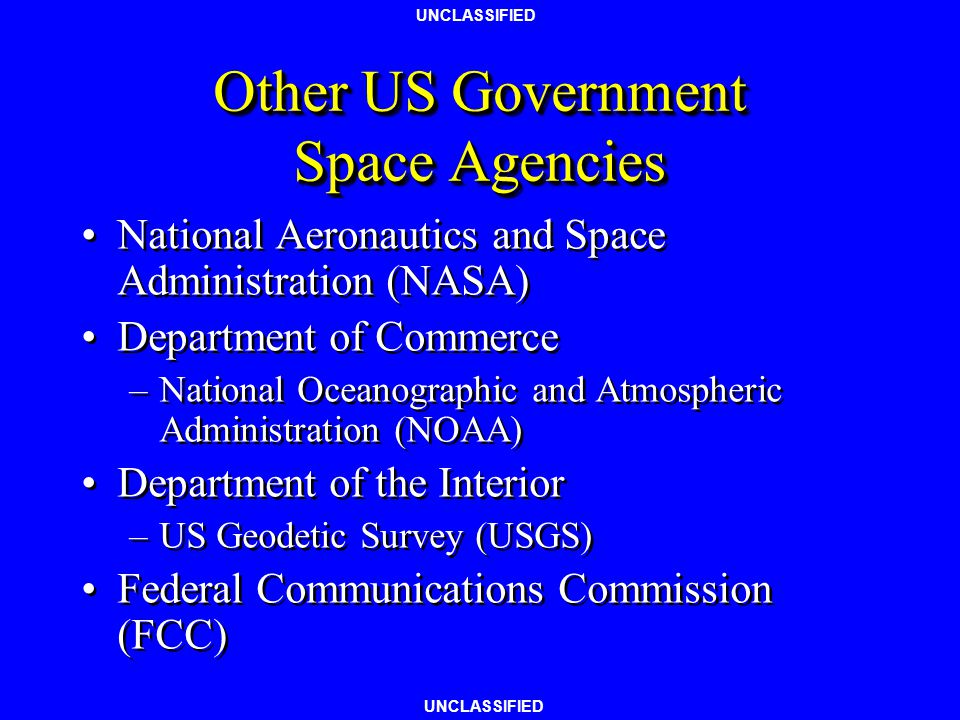 Other US Government Space Agencies