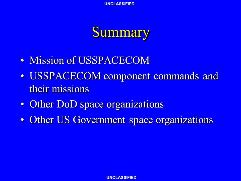 Summary Mission of USSPACECOM