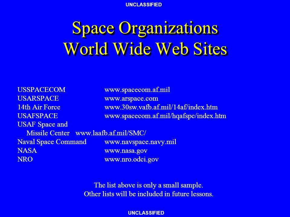 Space Organizations World Wide Web Sites