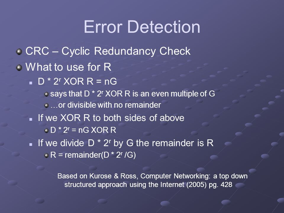 Error Detection CRC – Cyclic Redundancy Check What to use for R