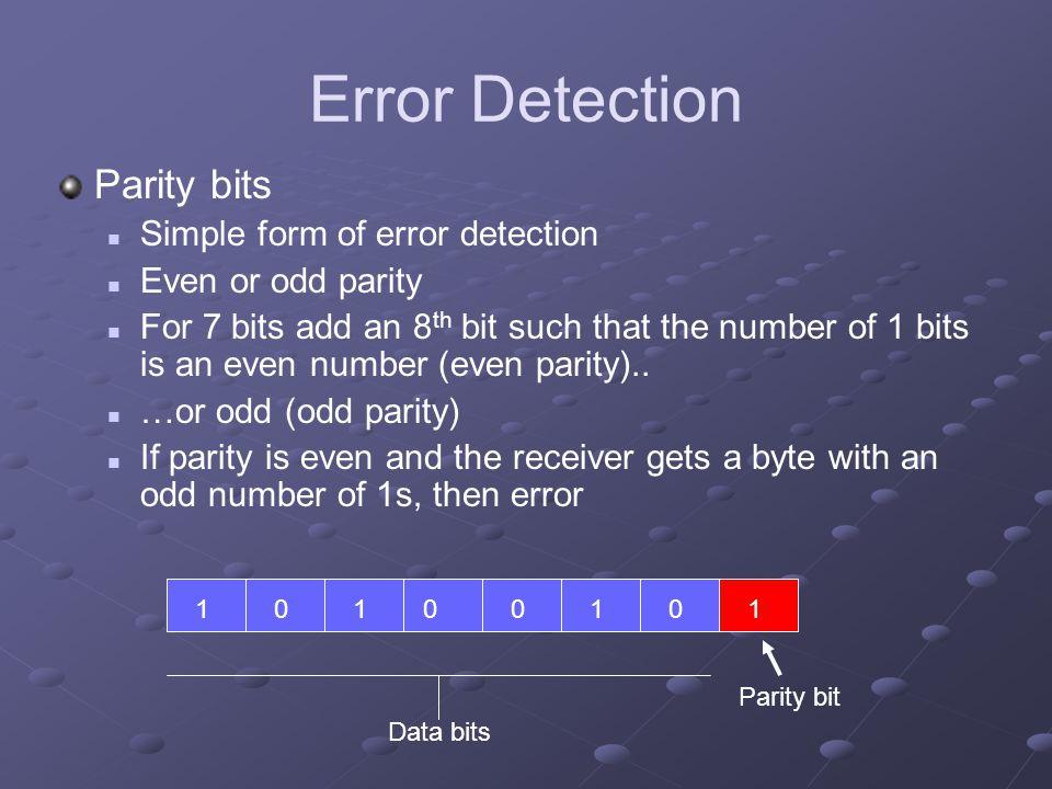 Error Detection Parity bits Simple form of error detection
