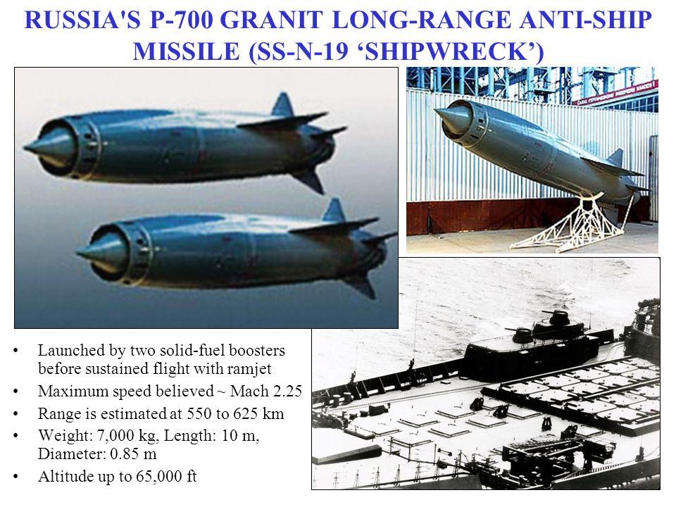 RUSSIA S P-700 GRANIT LONG-RANGE ANTI-SHIP MISSILE (SS-N-19 'SHIPWRECK')