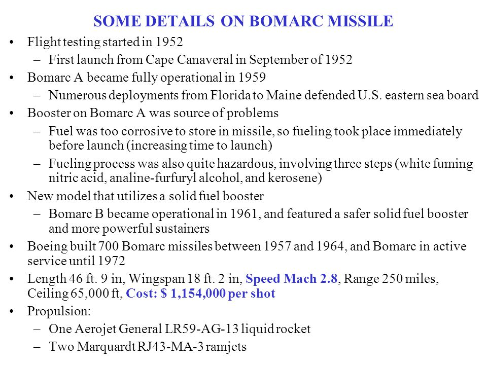 SOME DETAILS ON BOMARC MISSILE