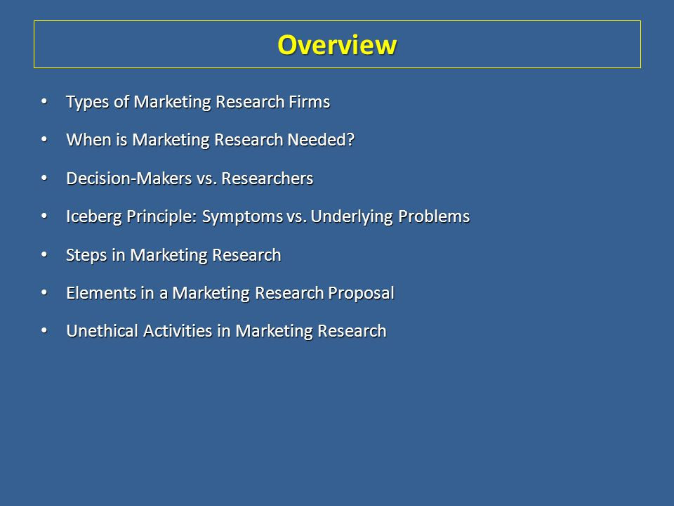 Overview Types of Marketing Research Firms