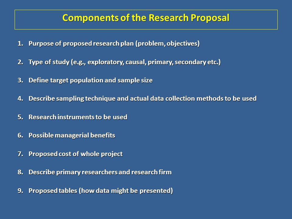 Components of the Research Proposal