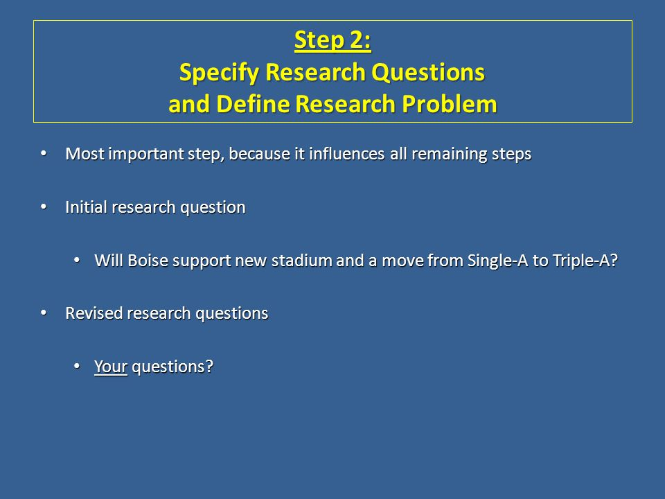 Step 2: Specify Research Questions and Define Research Problem