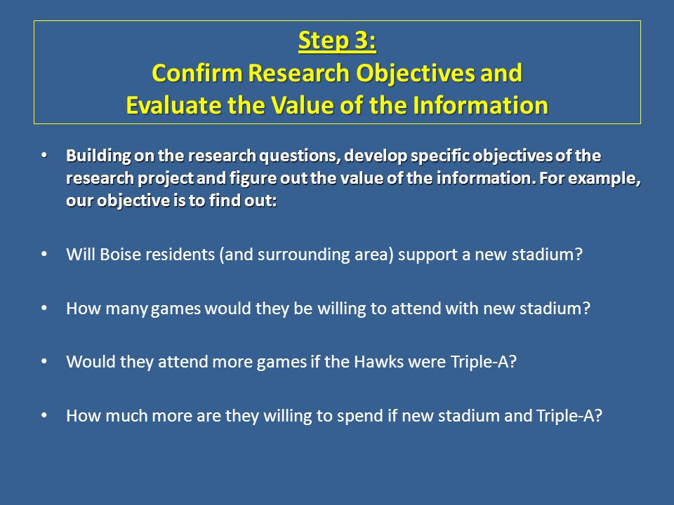Step 3: Confirm Research Objectives and Evaluate the Value of the Information