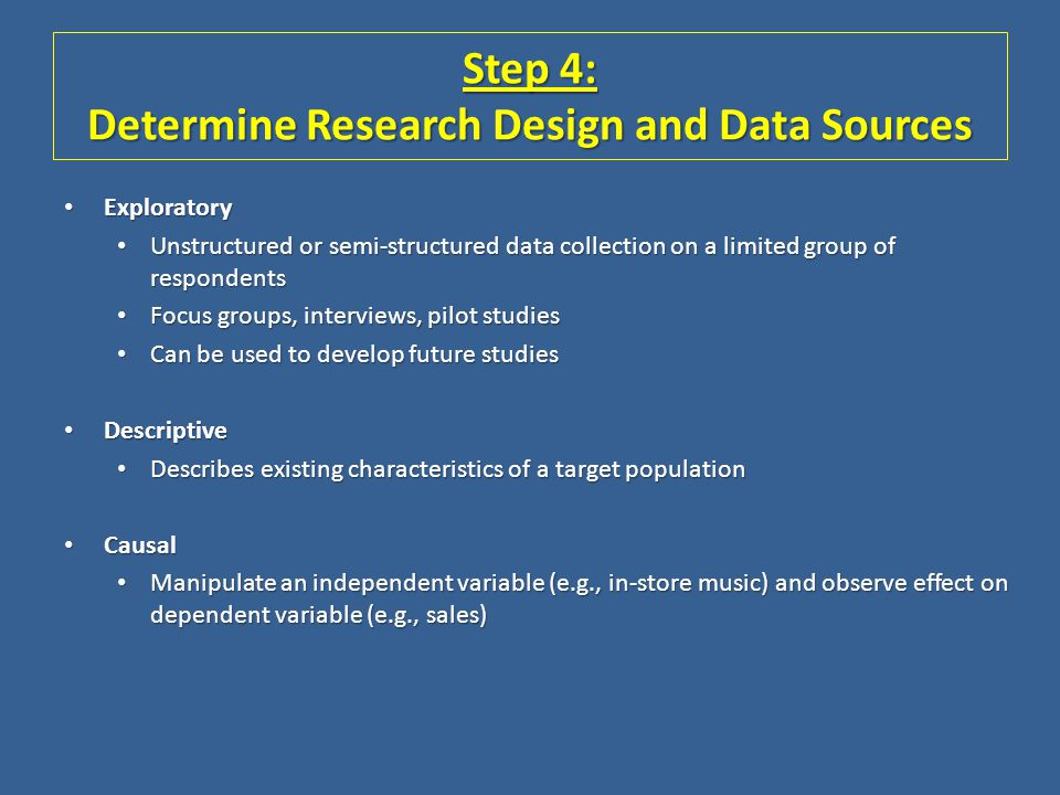Step 4: Determine Research Design and Data Sources