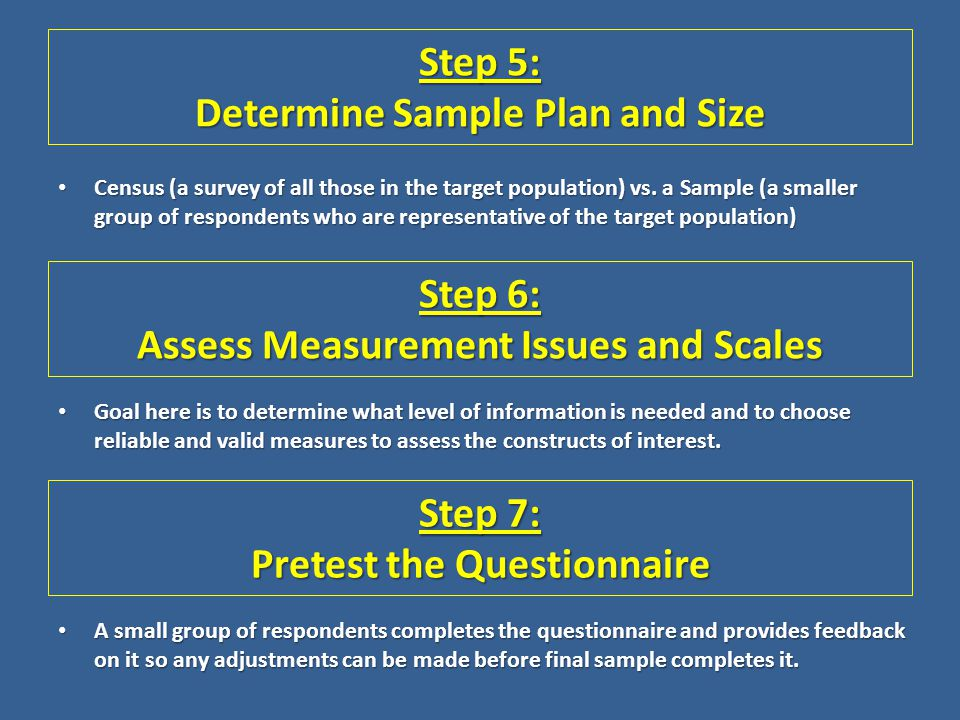 Step 5: Determine Sample Plan and Size