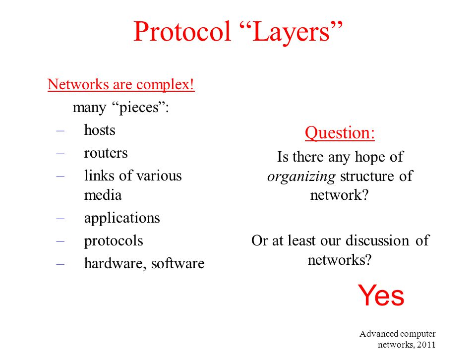 Protocol Layers Yes Question: Networks are complex! many pieces :