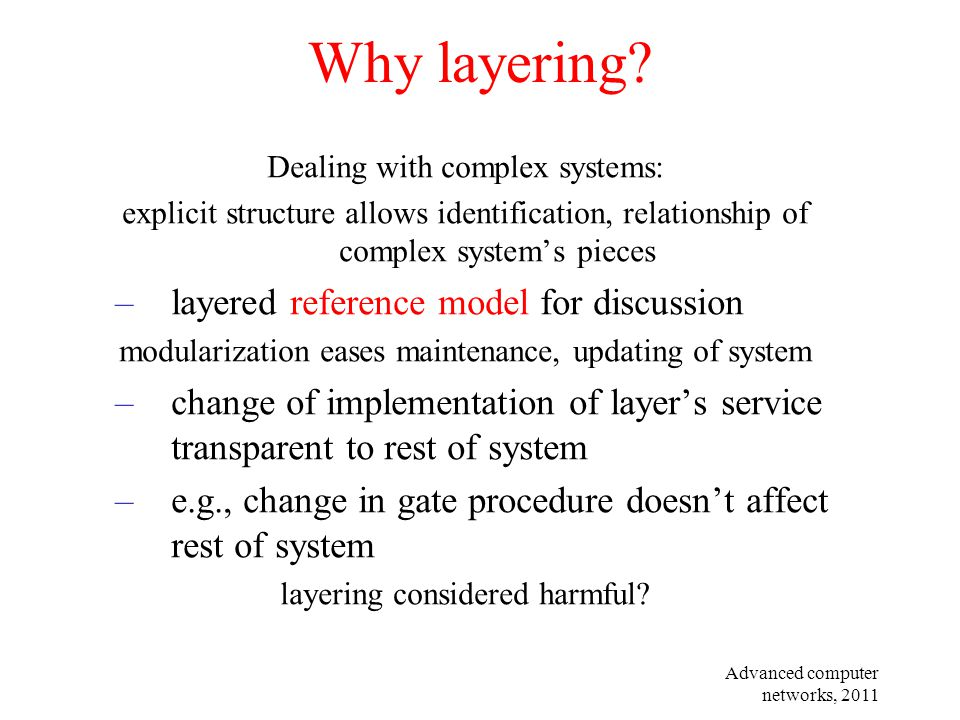 Why layering layered reference model for discussion