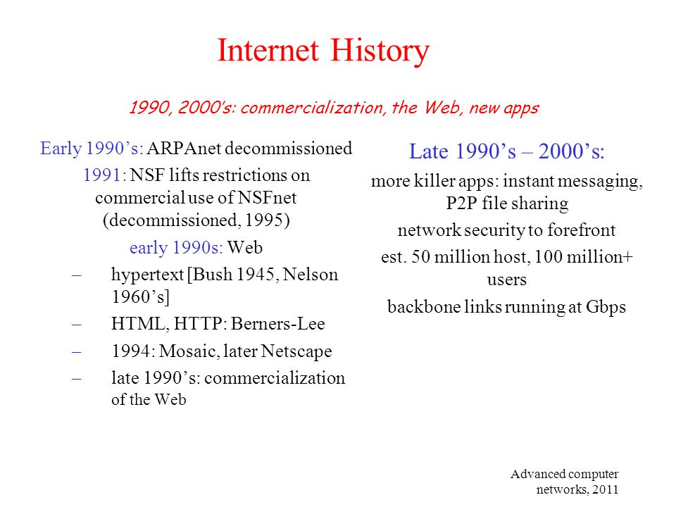 Internet History Late 1990's – 2000's:
