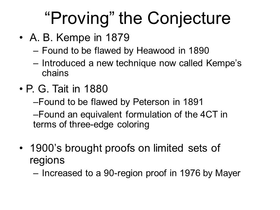 Proving the Conjecture