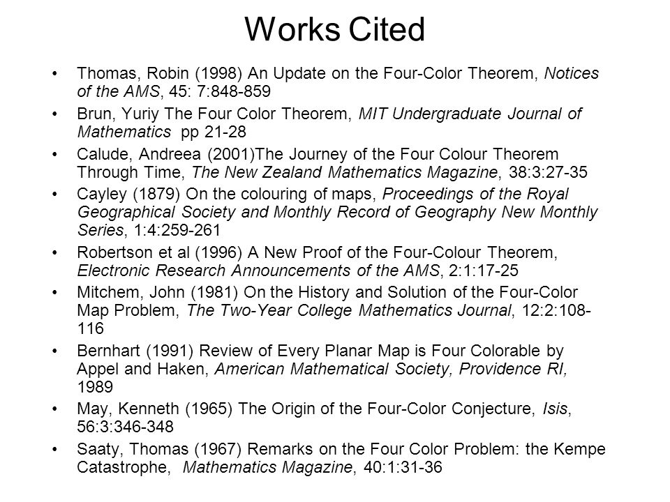 Works Cited Thomas, Robin (1998) An Update on the Four-Color Theorem, Notices of the AMS, 45: 7:848-859.