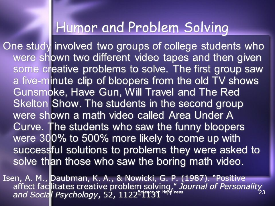 Humor and Problem Solving
