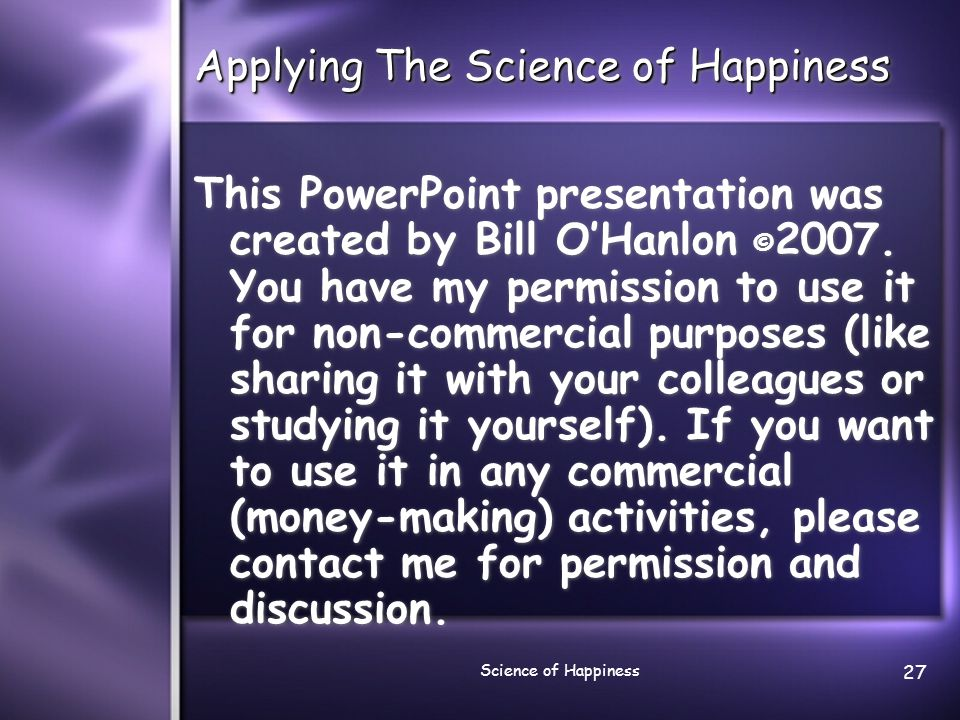 Applying The Science of Happiness
