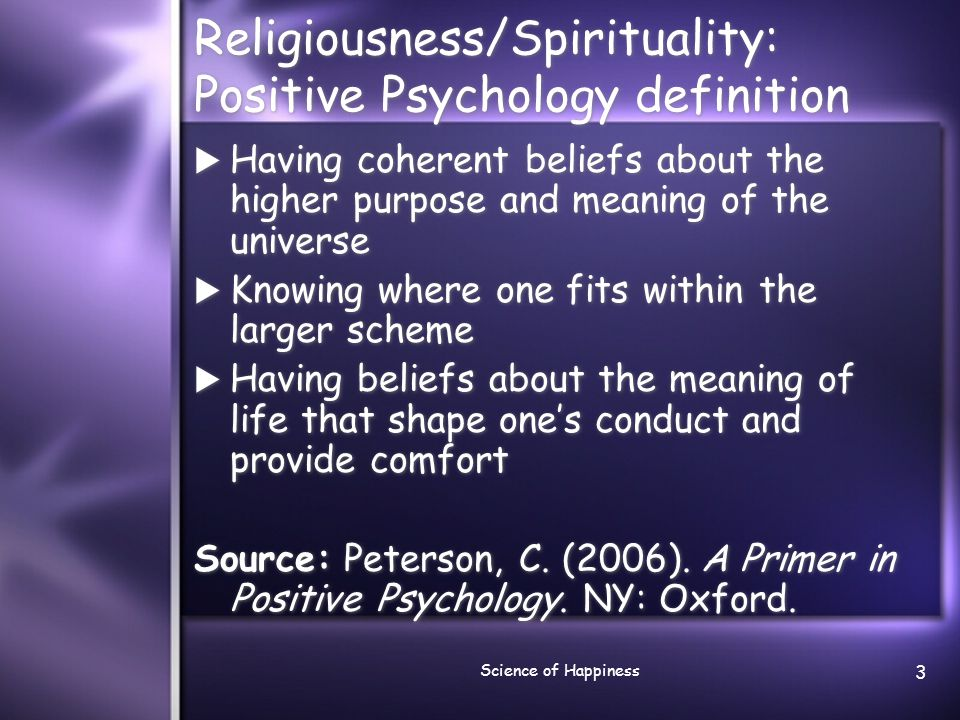 Religiousness/Spirituality: Positive Psychology definition