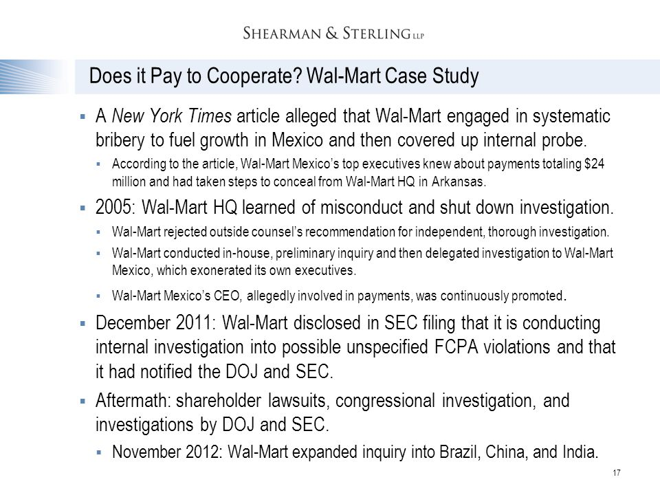 Does it Pay to Cooperate Wal-Mart Case Study