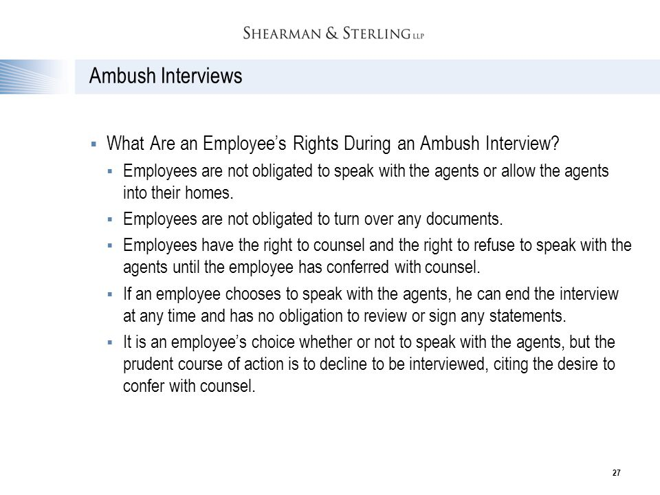 Ambush Interviews What Are an Employee's Rights During an Ambush Interview