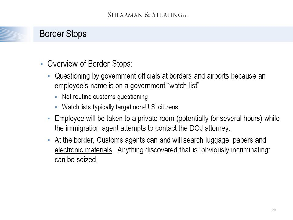 Border Stops Overview of Border Stops: