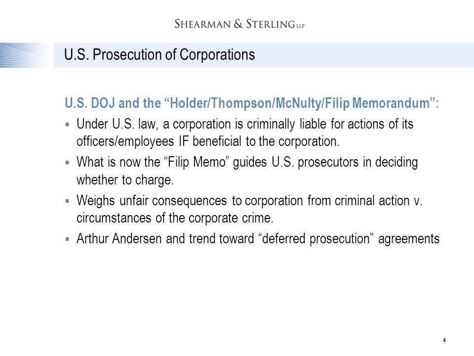 U.S. Prosecution of Corporations