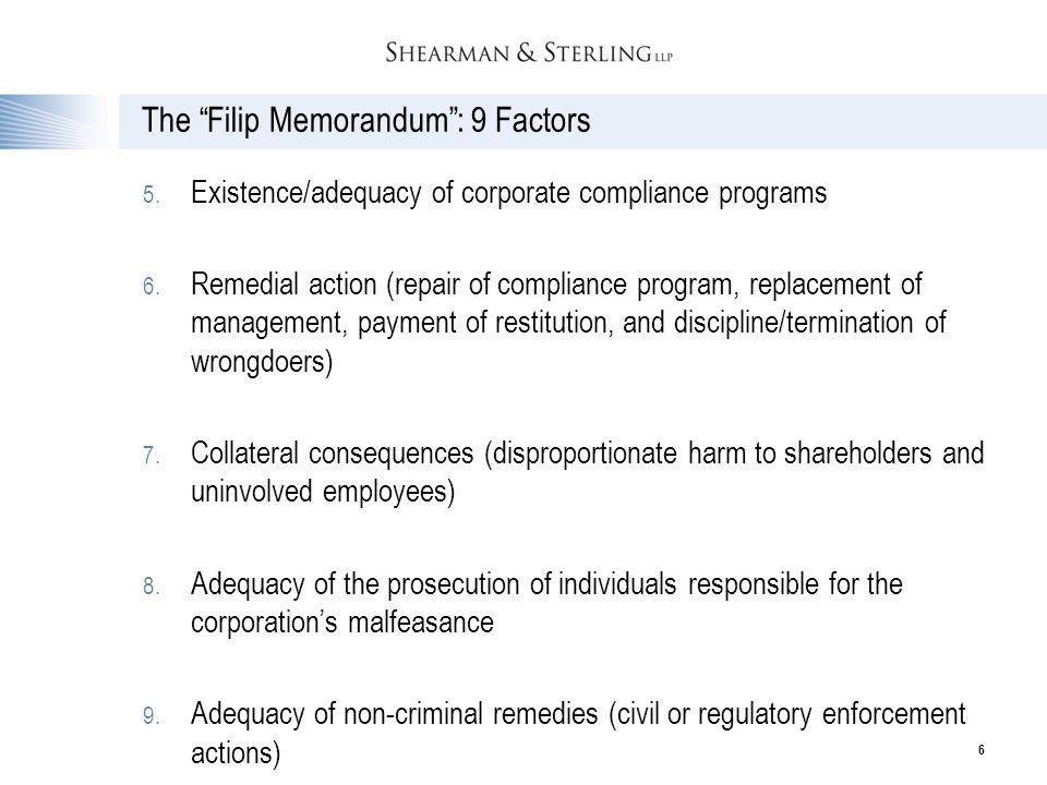 The Filip Memorandum : 9 Factors