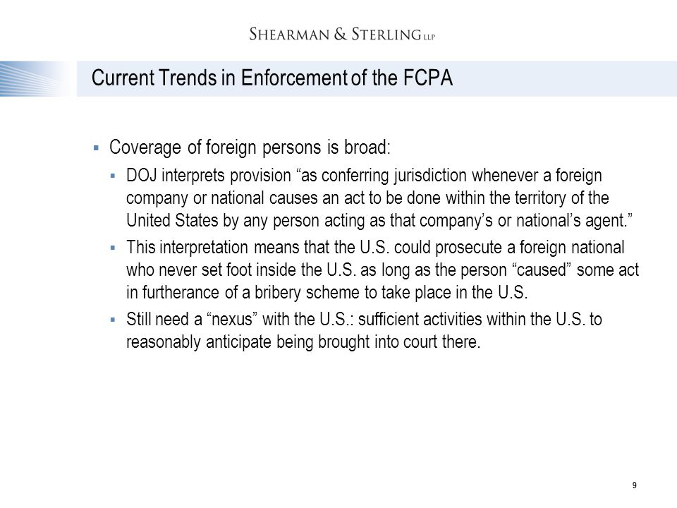 Current Trends in Enforcement of the FCPA