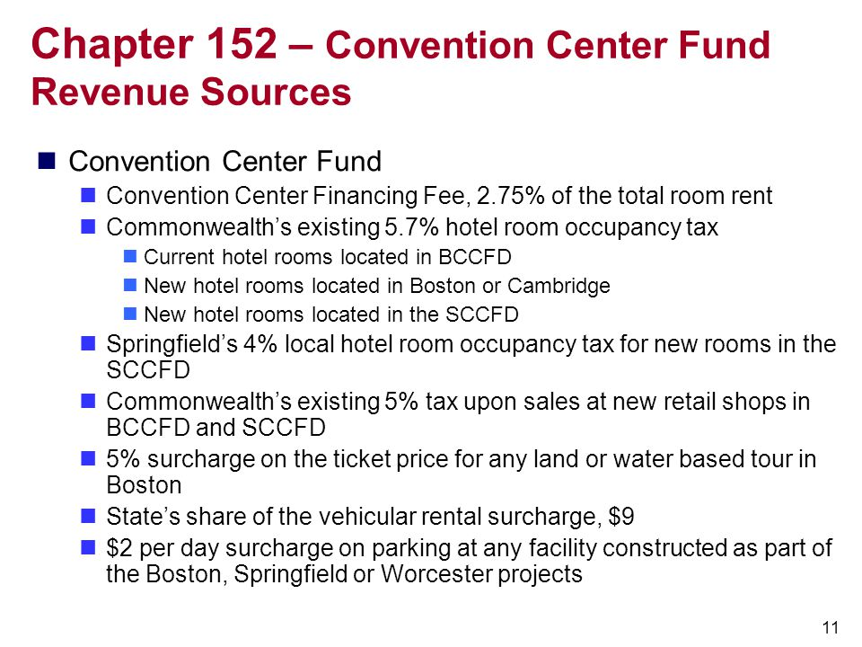Chapter 152 – Convention Center Fund Revenue Sources