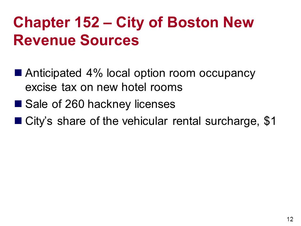 Chapter 152 – City of Boston New Revenue Sources