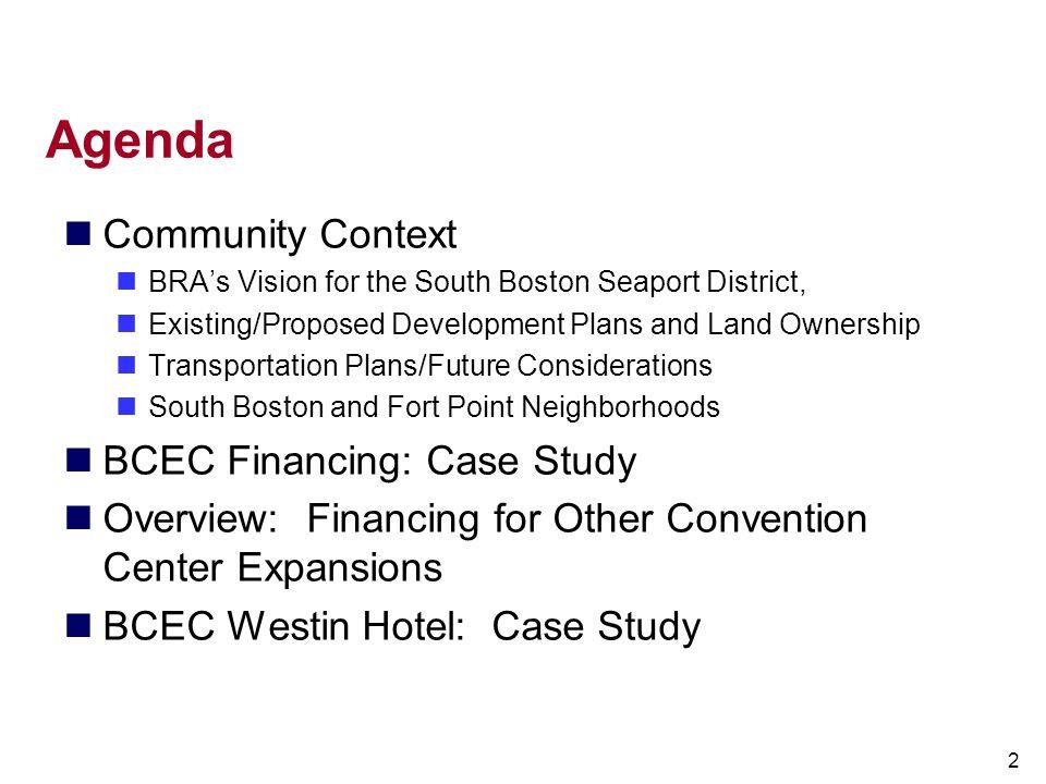 Agenda Community Context BCEC Financing: Case Study